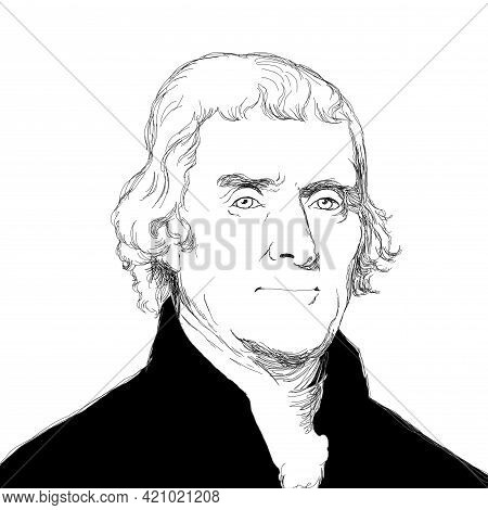 Illustration Of The President Of The United States Of America Thomas Jefferson