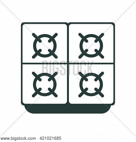 Kitchen Stove With Oven Cooking Appliance Object Home. Isolated Equipment Kitchen Stove Food Vector