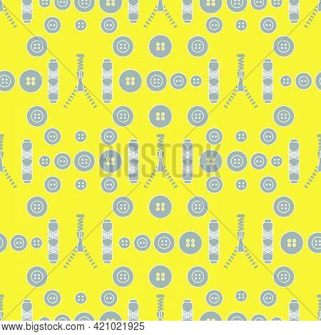 Seamless Pattern With Zipper, Buttons, Threads. Sewing And Needlework Background. Template For Desig