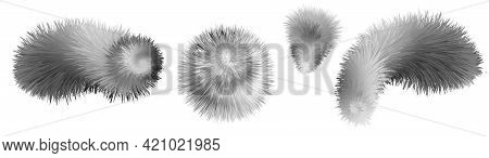 Fur Pompons And Shapes. Gray And White Racoon Furry Texture.  Shaggy Fluffy 3d Objects Isolated. Vec