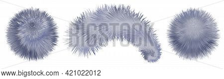 Fur Pompoms And Balls Isolated. Furry Realistic Shaggy Texture. Smoke Blue And Gray Colorful Pompons