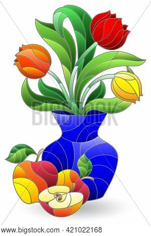 Illustration In The Style Of A Stained Glass Window With A Floral Still Life, A Bouquet In A Vase An