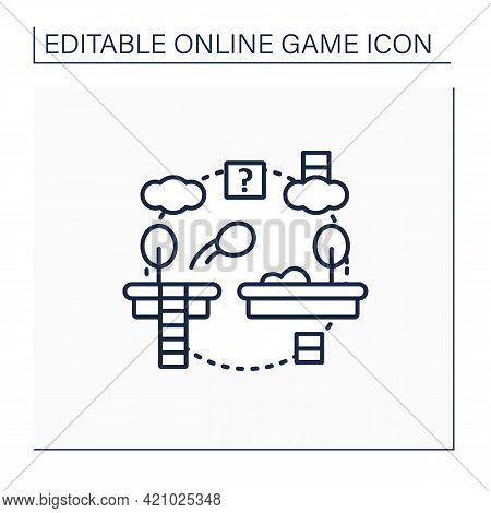 Platformer Line Icon. Jumping Ball Across Variety Platforms.collection Items, Awards.online Game Con
