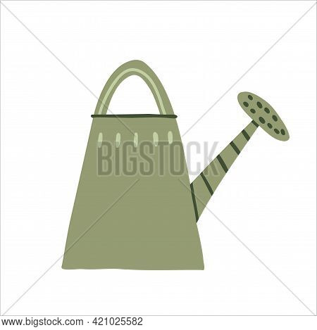 Metal Garden Watering Can. Vector Flat Design Illustration Isolated On White