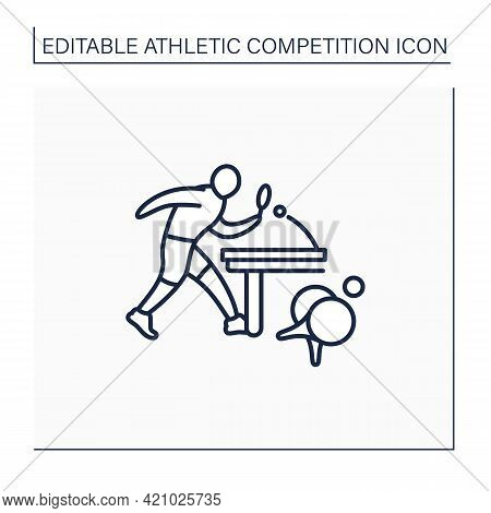 Table Tennis Line Icon. Ping-pong. Players Hit Lightweight Ball, Using Small Racket. Athletic Compet