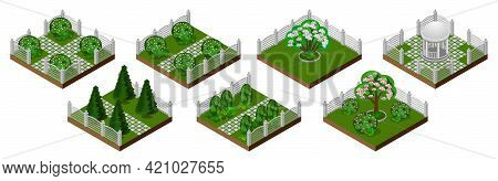 Isometric Park Or Garden Set. Summer Garden Tiles Isolated. Trees, Bushes, Decorative Fence, Grass.