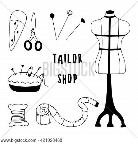 Set Of Items For Sewing Clothes. Mannequin And Centimeter, Scissors And Bobbin, Pillow For Needles,