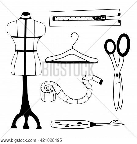 Set Of Items For Sewing Clothes. Mannequin And Hanger, Centimeter And Scissors, Ripper And Zipper. B