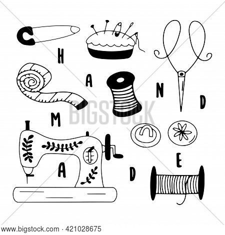 Set Of Elements For Needlework And Sewing. Inscription Hand Made. Needle And Thread, Scissors And Bu