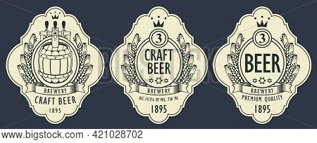 A Set Of Three Monochrome Beer Labels With A Wooden Barrel, A Coat Of Arms, Ears Of Wheat Or Barley
