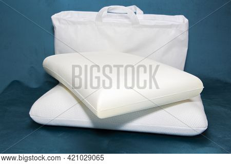 Close-up Of White Pillows, Pillow Production, Pillow Selection.