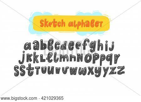 Hand Draw Vector Sketch Funny English Alphabets. Cute Handwritten Vector English Alphabet, Funny Han