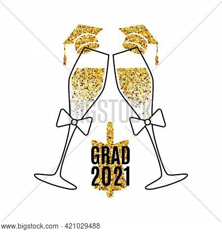 Grad 2021 Invitation Card With Two Glasses Of Champagne, Golden Confetti Hats, Bell For Card, Web Ba