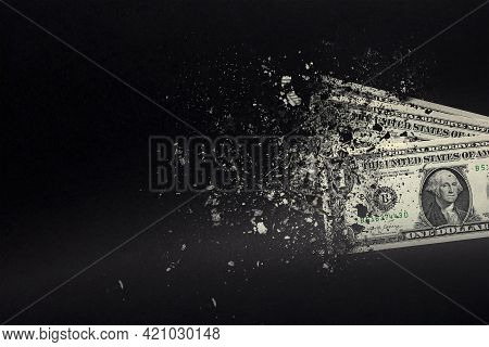 Spend Money, Spend All Your Money Illiterately. The Dollar Bill Turns To Ash, Dissolves Against A Bl