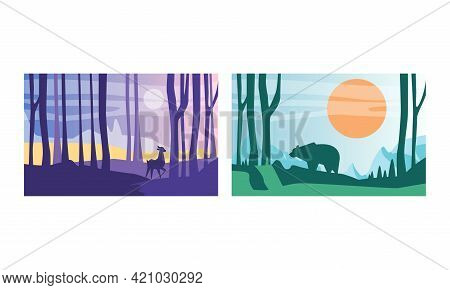 Beautiful Natural Landscape Set, Wilderness Scenery With Deer And Bear Wild Animals, Exotic Savanna