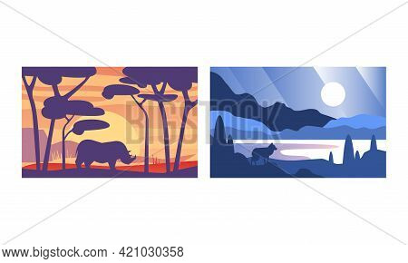 Beautiful Natural Landscape Set, Wilderness Scenery With Wild Animals Silhouettes Vector Illustratio