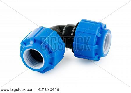 Various Plastic Fittings For Polypropylene Pipes On White Insulated Background