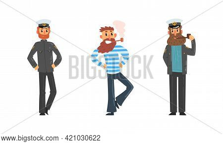 Set Of Sailors And Captain, Seaman Characters, Ship Crew Members Cartoon Vector Illustration