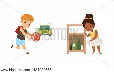 Kids In Dangerous Situations Set, Cute Girl Reaching For Hazardous Substances, Boy Playing Ball In F