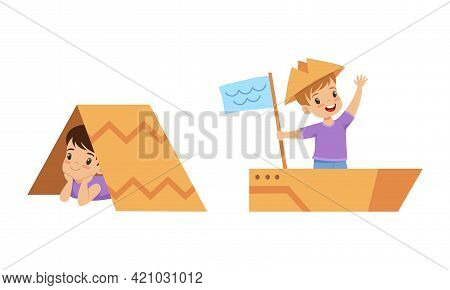 Cute Little Kids Playing Cardboard Boxes Set, Little Boys Playing Boat And Tent Made Of Cardboard Bo