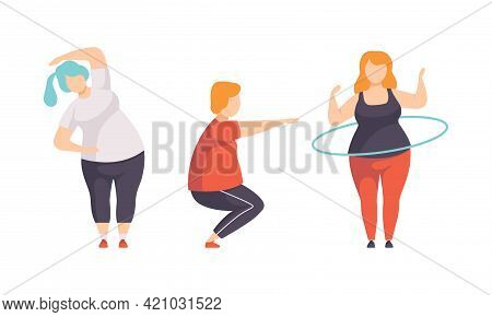 Overweight People Doing Sports Set, Fat Persons Spinning Hula Hoop, Doing Squats, Weight Loss Progra