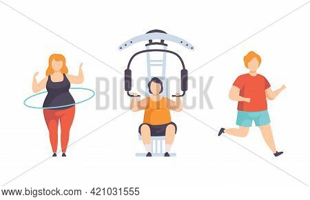 Overweight People Doing Sports Set, Fat Man And Woman Flexing Muscles On Trainer Gym Machine, Runnin