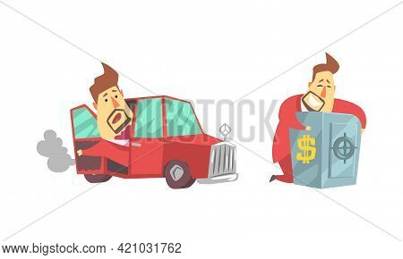 Funny Rich Millionaire Set, Fat Businessman Character Riding Luxury Car And Hugging Safe Full Of Mon