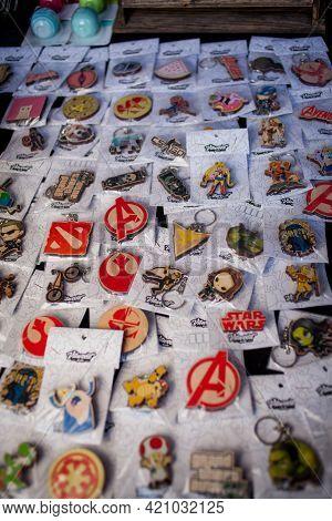 Kiev, Ukraine - May 6, 2017: Kiev Comic Con, The Annual Congress Of Fandoms In Kiev, Ukraine. Souven