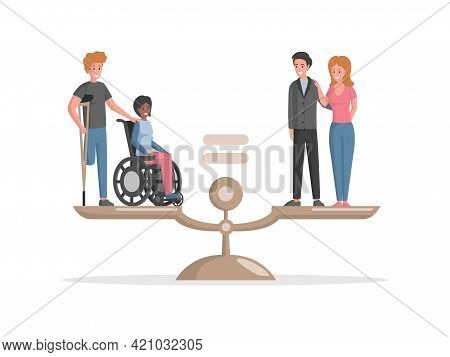 Disabled People And Valid People Standing On Scales Vector Flat Illustration. Invalids Equal In Righ