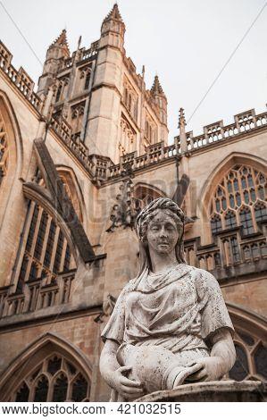 Sculpture Near The Abbey Church Of Saint Peter And Saint Paul, Bath, Commonly Known As Bath Abbey. S
