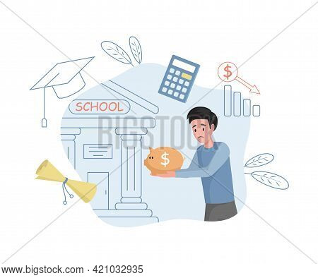 Young Upset Man Carrying Savings To School Vector Flat Illustration. Male Character Paying For Educa