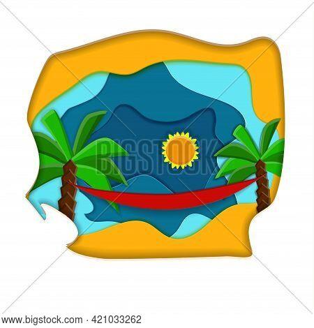 Seashore Landscape. Paper Cut Bright Vector Illustration. Sun, Palm Trees, Hammock And Sand.