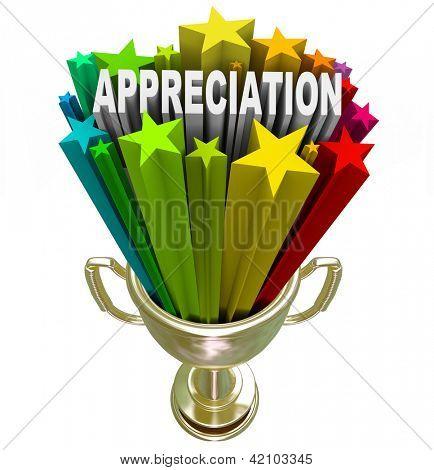 Empleado, cliente o socio es galardonado con este Trofeo dorado con estrellas y la palabra apreciación