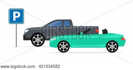 Parking Car Spot Lot. Vector Car Park Icon Front View Cartoon Flat Icon