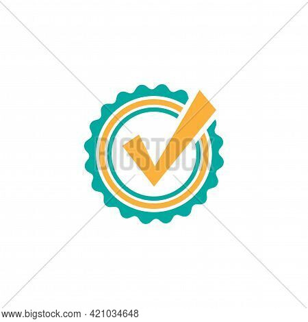Valid Seal Icon. Blue And Orange Circle With Ribbon Outline And Blue Tick. Flat Ok Sticker Icon. Iso