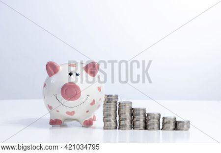 Piggy Bank With Money Stack Step Up Concept Financial Business Investment With Copy Space For Text