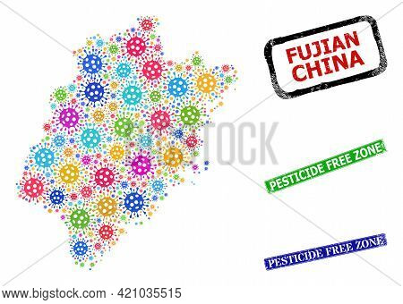 Vector Cell Collage Fujian Province Map, And Grunge Pesticide Free Zone Seals. Vector Colored Fujian