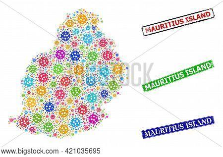 Vector Coronavirus Mosaic Mauritius Island Map, And Grunge Mauritius Island Badges. Vector Vibrant M