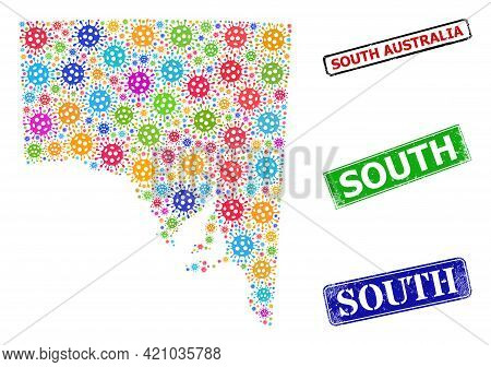 Vector Virus Mosaic South Australia Map, And Grunge South Seal Stamps. Vector Multi-colored South Au