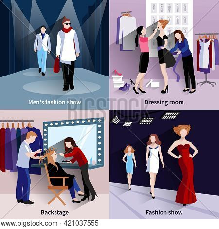 Fashion Model Design Concept Set With Catwalk And Backstage Flat Icons Isolated Vector Illustration