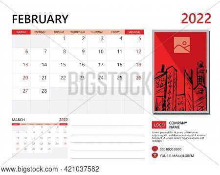 Calendar Planner 2022 And Set Of 12 Months, February 2022 Template, Week Start On Sunday, Desk Calen