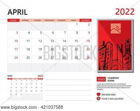 Calendar Planner 2022 And Set Of 12 Months, April 2022 Template, Week Start On Sunday, Desk Calendar