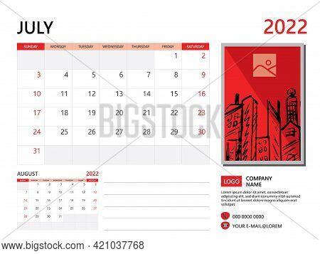Calendar Planner 2022 And Set Of 12 Months, July 2022 Template, Week Start On Sunday, Desk Calendar