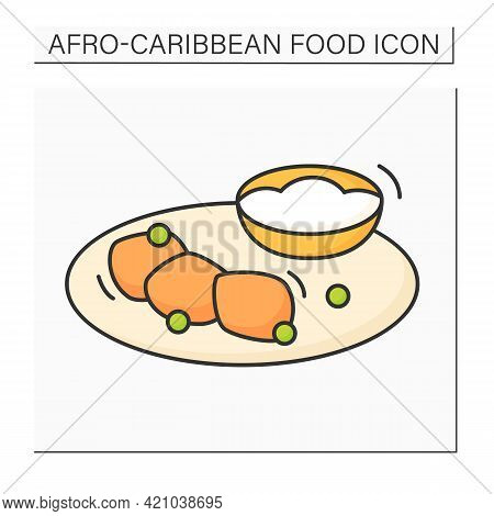 Akara And Ogi Color Icon. Peeled Beans Formed In Balls And Fermented Cereal Pudding. Afro-caribbean