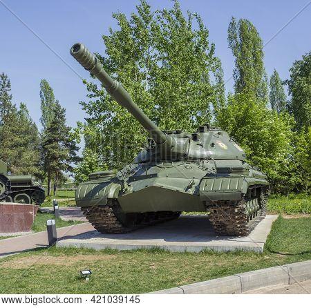 Nizhny Novgorod, Russia - May 17 2021: Soviet Heavy Tank T-10m.  Exhibition In N.novgorod.  Applianc