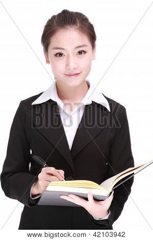 A Beautiful Businesswomanisolated On A White Background.
