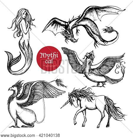 Mythical Creatures Hand Drawn Sketch Set Isolated Vector Illustration