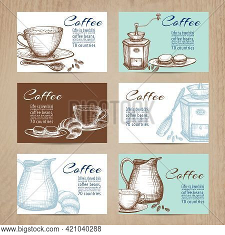 Nostalgic Coffee Time Cards With Recipes Collection In Mini Banners Form  On Billboard Abstract Isol