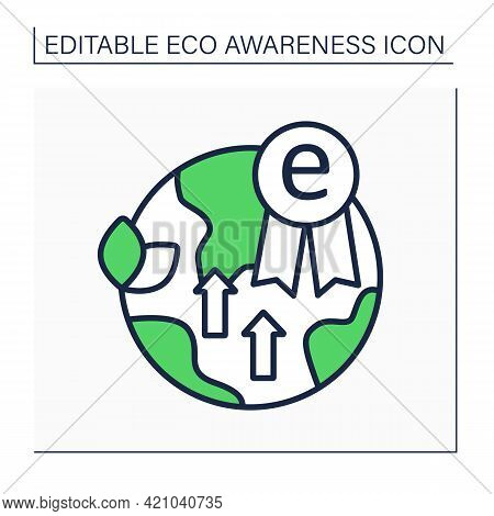 Eco Excellence Line Icon. Award. Excellence In Social And Environmental Sustainability. Eco Awarenes