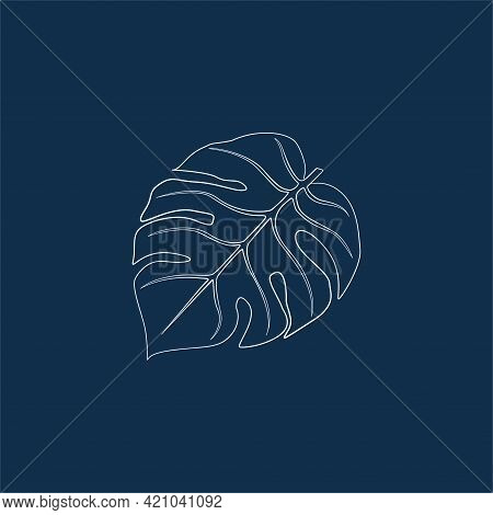 Graceful Contour Sheet. Vector Isolated Element. White Line Logo On A Blue Background. Tropical Gard
